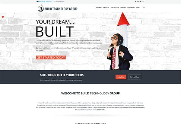 screenshot of build technology's website
