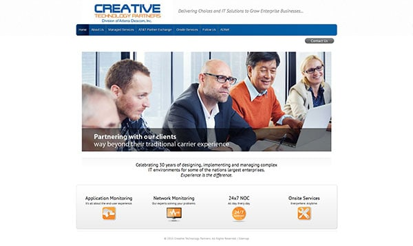 screenshot of creative technology partners website