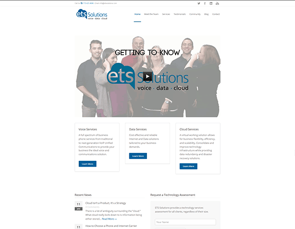 screenshot of ets solutions' website