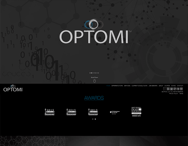 screenshot of optomi's website