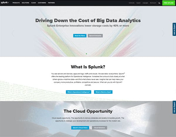 screenshot of splunk's website