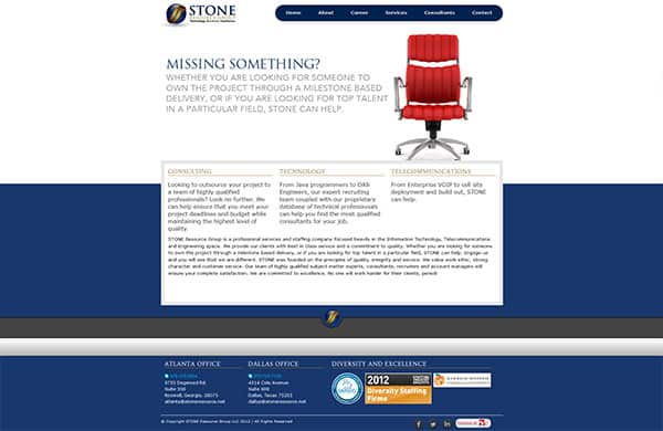 screenshot of stone resource group's website