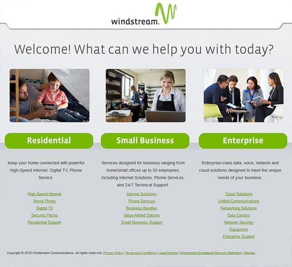 screenshot of windstream's website
