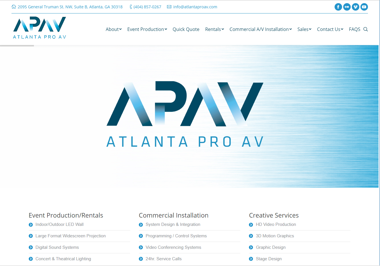 screenshot of apav's website