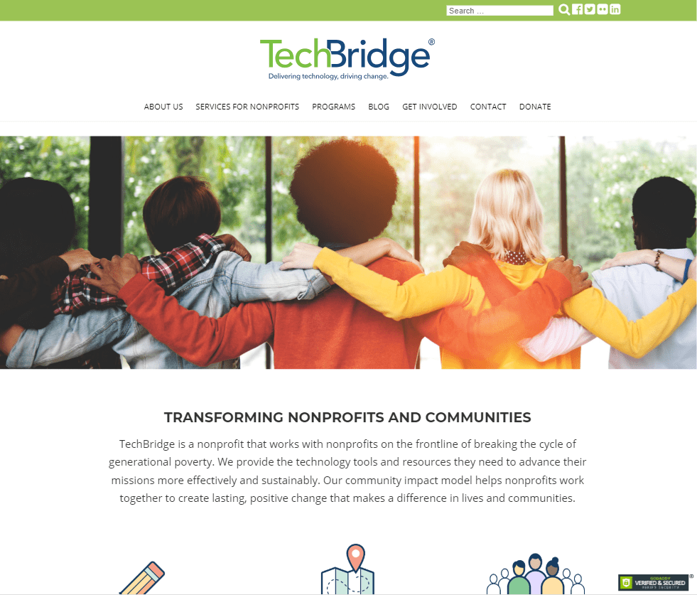 screenshot of the TechBridge website