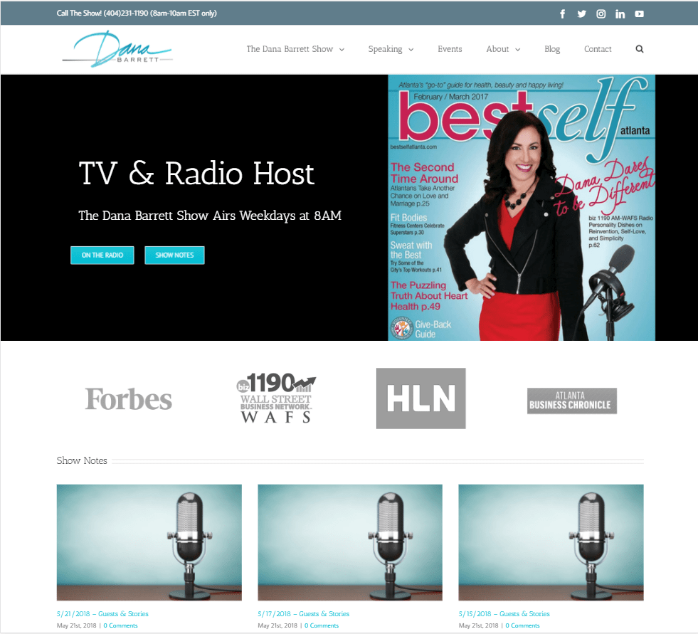 screenshot of the Dana Barrett Show website