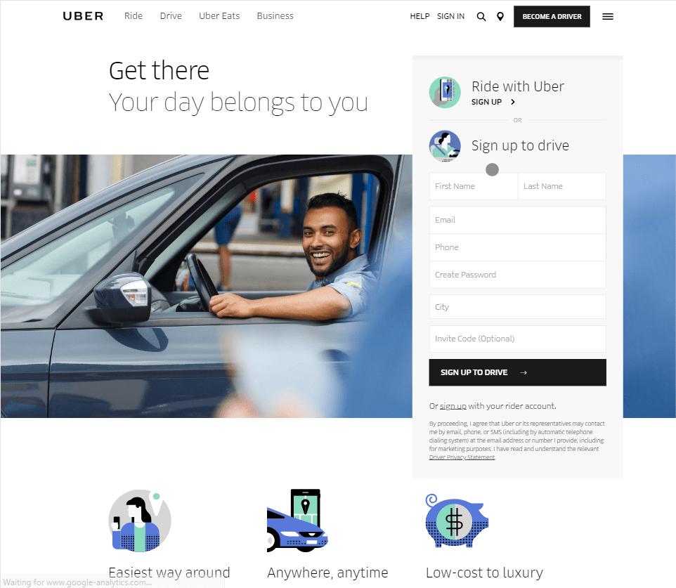 screenshot of the Uber website